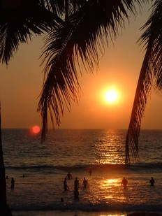 Kovalam Beach sunset and palm trees