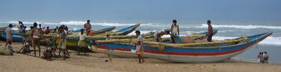 Puri Beach, boats, fishermen