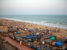 Puri beach, Orissa, evening scene