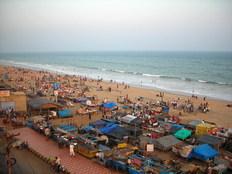Puri beach, Orissa, evening scene