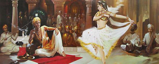 Indian art, women dancing