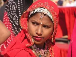 Indain Girl, Red sari, Rajasthan