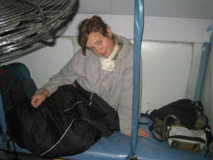 India Travel Blog, Kate on top bunk in train