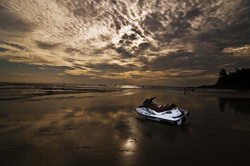 baga beach sunset, jet ski