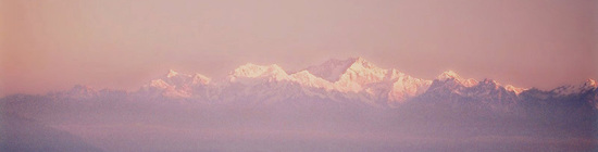 Darjeeling mountain pink sunset