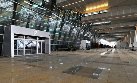 Departure forecourt at Delhi international airport