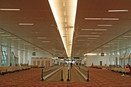 Travelators, automatic walkways at terminal 3, new delhi