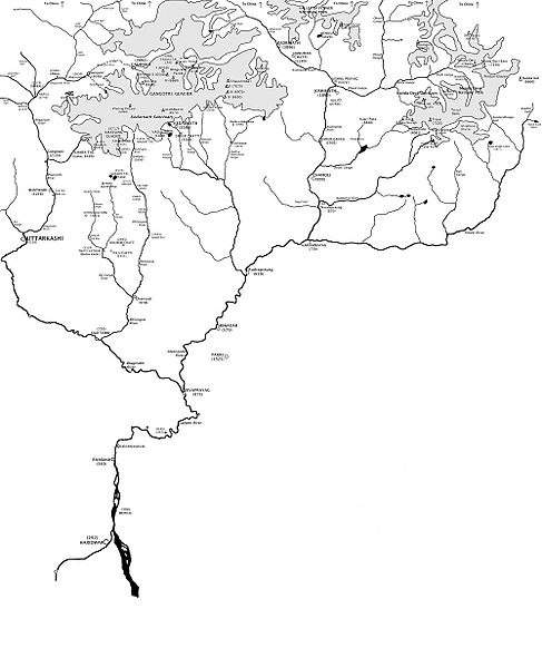 Route of Ganges river