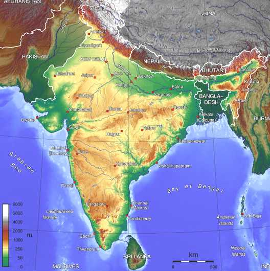 Geographical Map Of India Map of India Geographical Map Of India