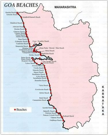 Map Of Goa Beaches. Goa Beaches Map