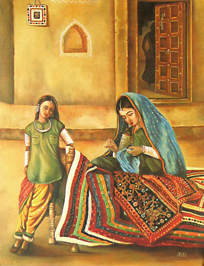 Indian art painting, woman and child