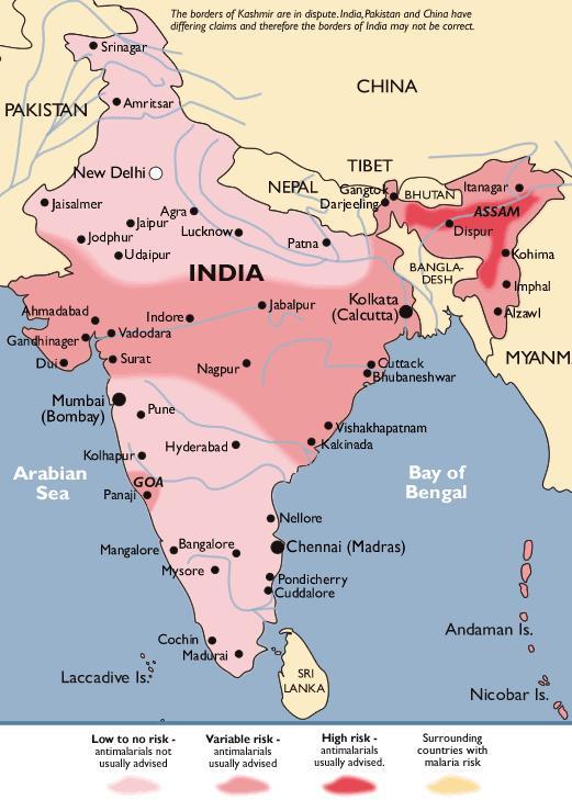 India malaria map