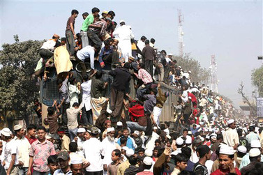 overcrowded train