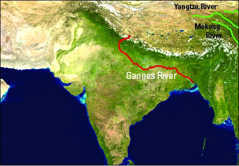 Where is the ganges river, map