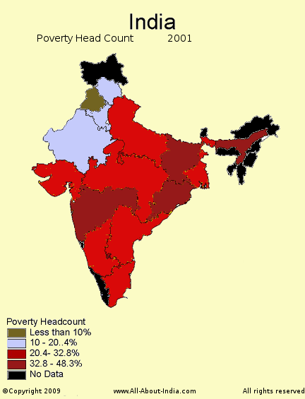 Poverty in India map, headcount map