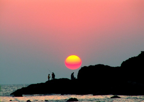 Sunset at chapora beach, chapora beach sunset