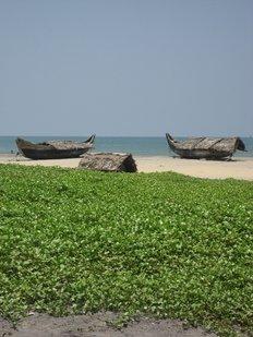Kovalam Beach empty with boats, Kerala