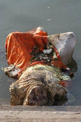 dead body in ganges river, body in river
