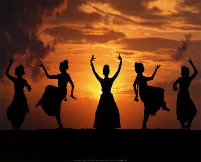 Indian art dance, sunset dance, india