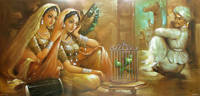 Indian paintings, two women two birds