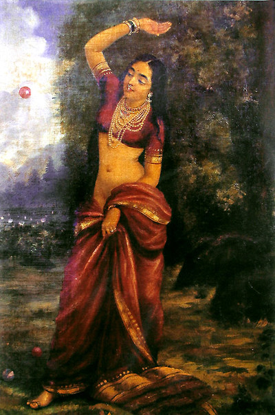 Indian art painting, beautiful woman in red