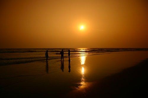 Sunset at Morjim Beach