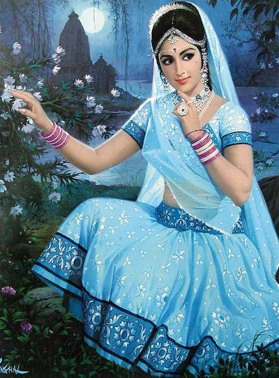 Beautiful Indian woman, art painting